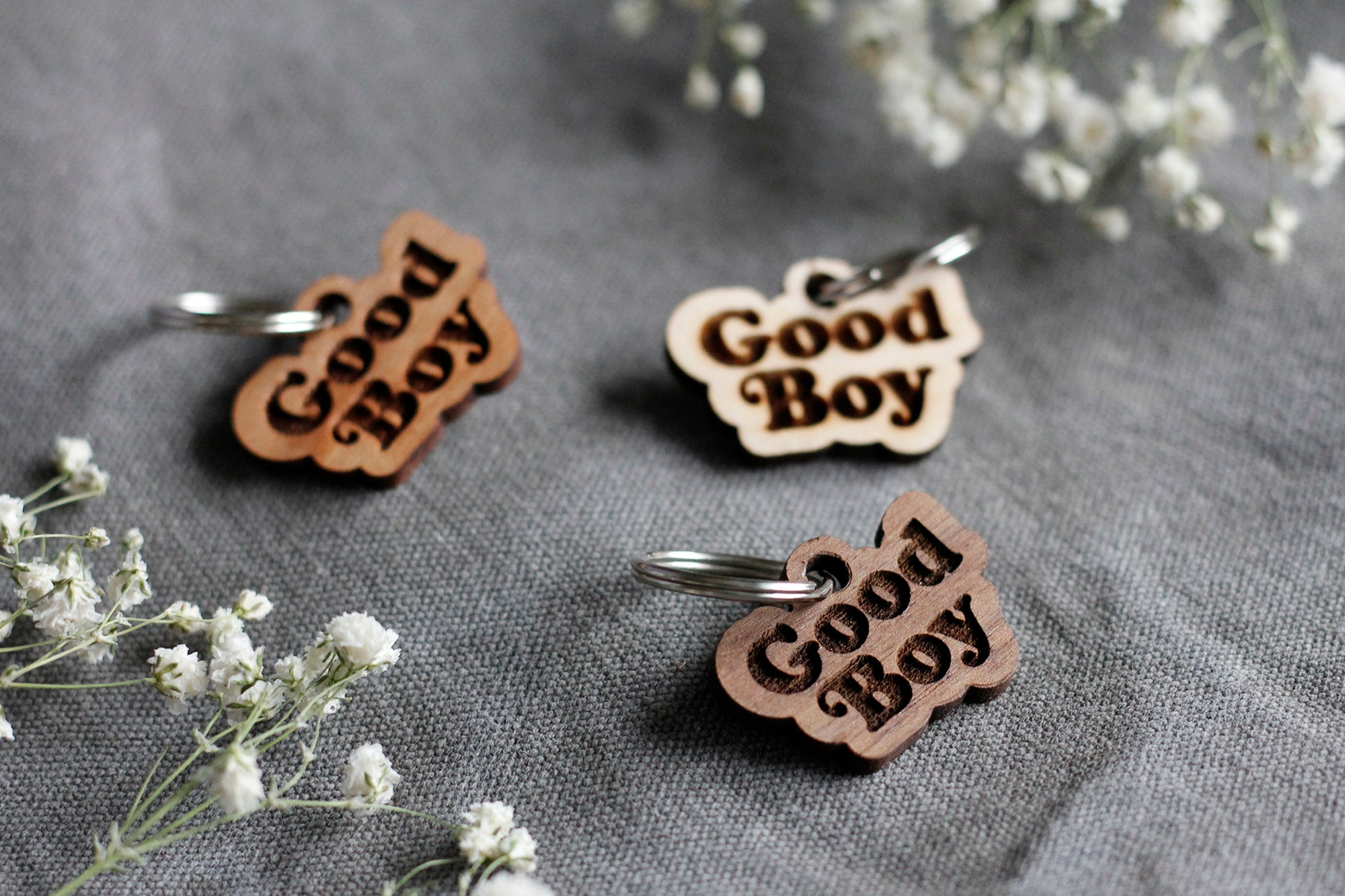 Good Boy Badge Style Engraved Wooden Pet Tag