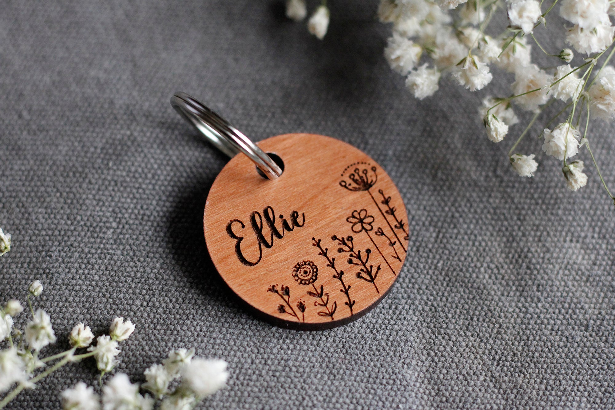 Flowers Wooden Dog ID Tag  FRONT: Engraved Dog Name & Flowers BACK: Your telephone number (optional)