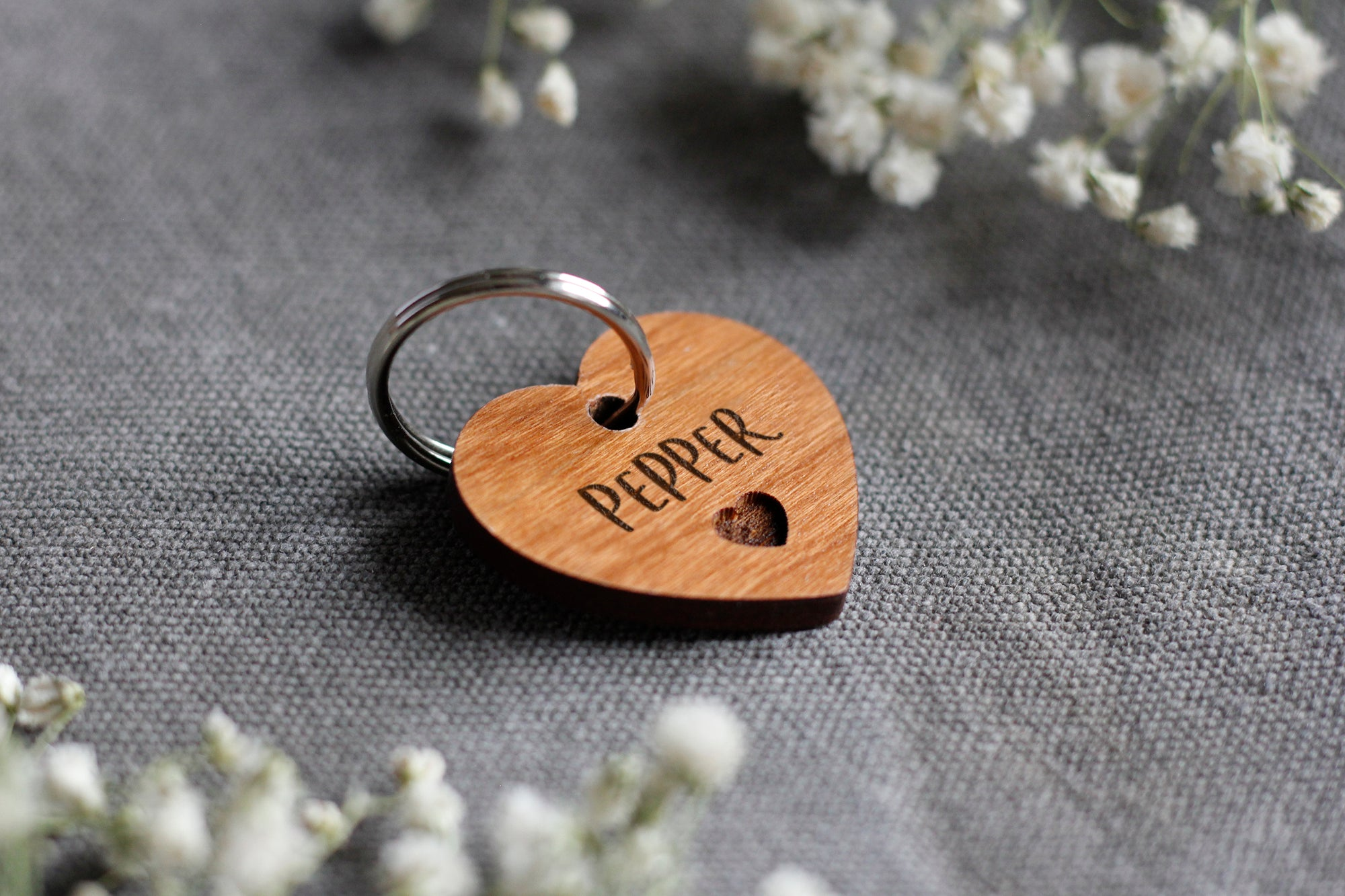 Heart Shaped Wooden Pet Tag