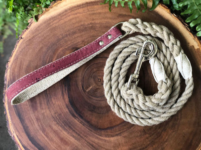 Hemp Rope Dog Leash with Pretty in Pink Cork Leather Handle