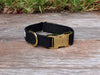Just Hemp Black Dog Collar Brass