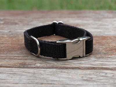 Just Hemp Black Dog Collar Nickel