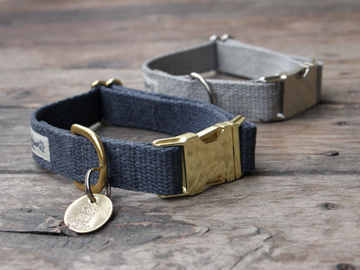 Just Hemp Nantucket Blue Dog Collar & Pebble Beach Silver Dog Collar