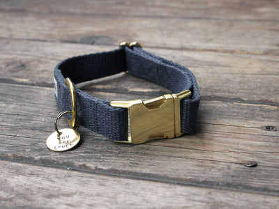 Just Hemp Nantucket Blue Dog Collar with Brass Hardware