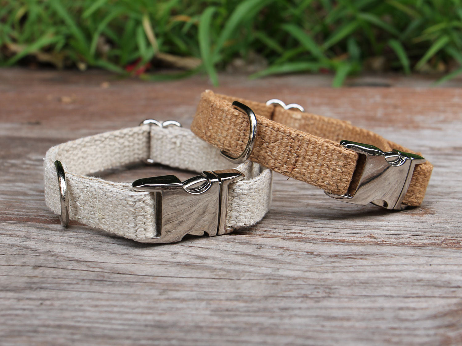 Just Hemp Dog Collar - Natural and Tea-Stained