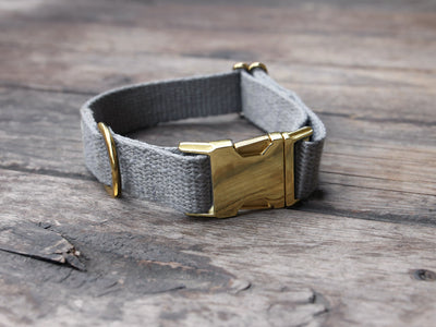 Just Hemp Pebble Beach Silver Dog Collar with Brass hardware