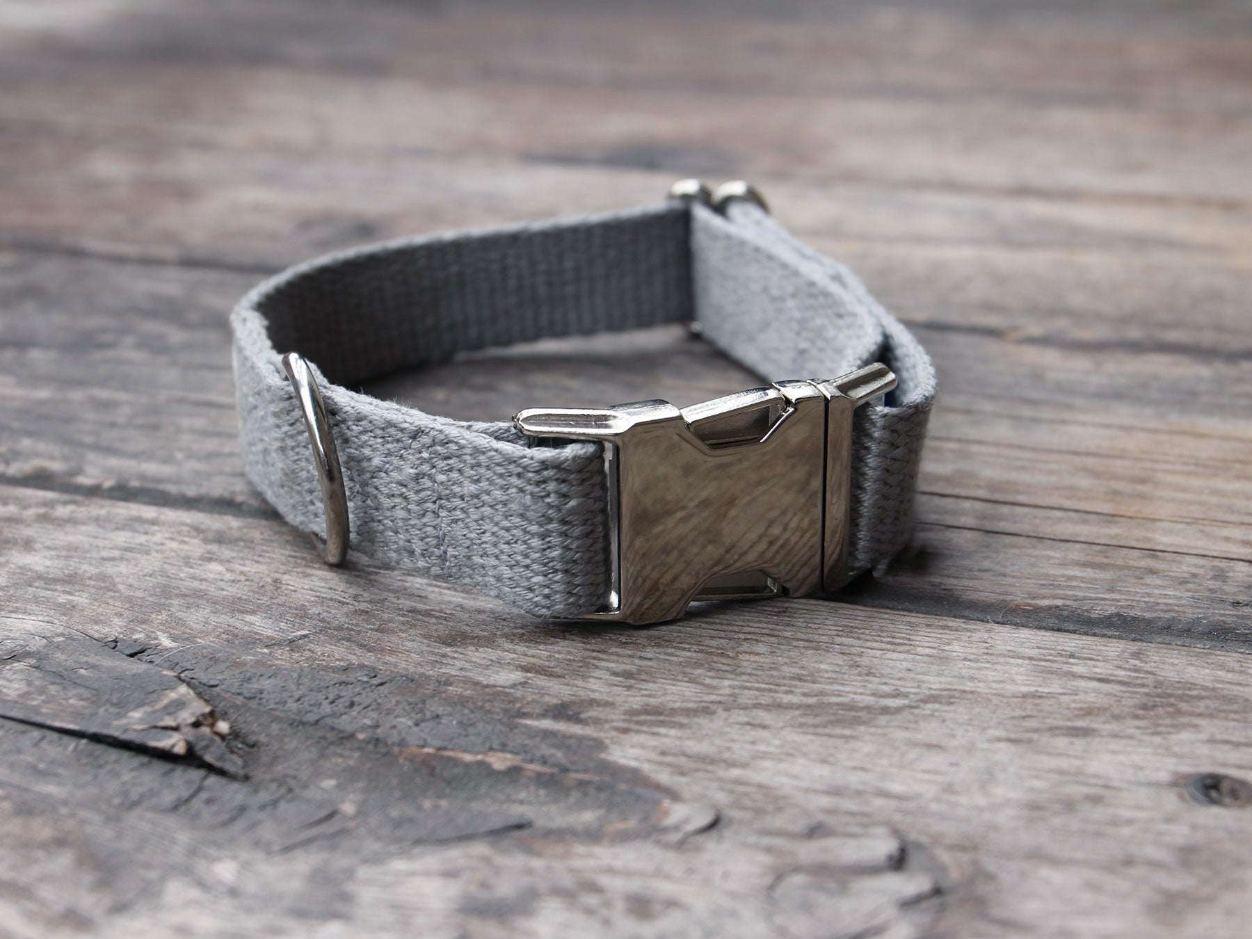 Just Hemp Pebble Beach Silver Dog Collar with Nickel Hardware