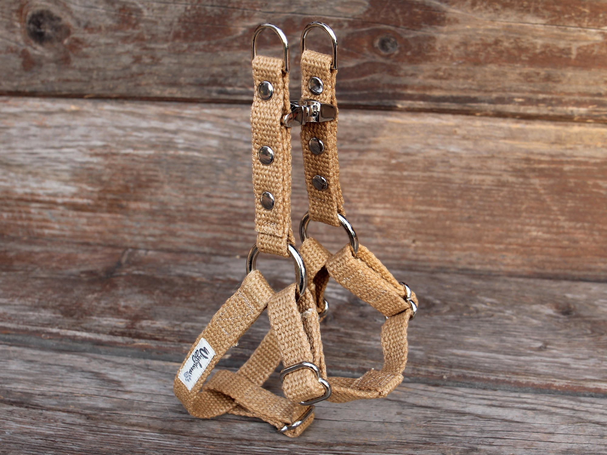 Tea-Stained Just Hemp Adjustable Step-In Dog Harness XS