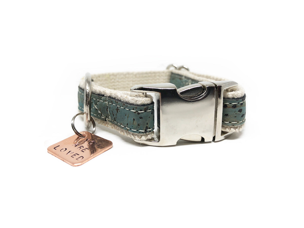 Lil' Adventurer Cork Leather Hemp Small Dog Collar in Blue