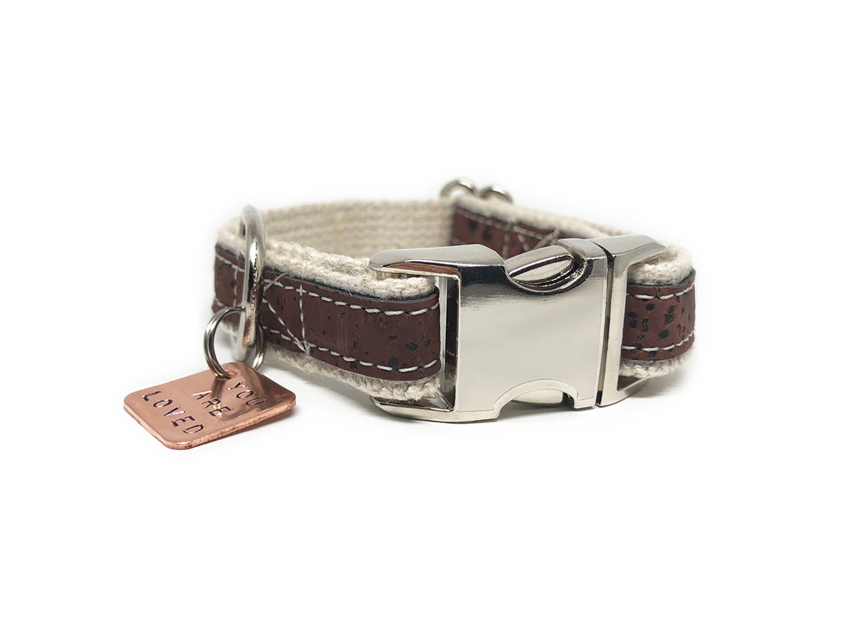 Lil' Adventurer Cork Leather Hemp Small Dog Collar in Brown