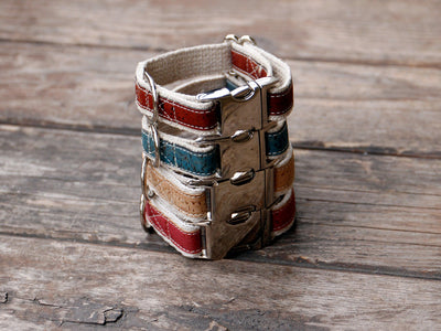 Lil' Adventurer Cork Leather Hemp Small Dog Collar