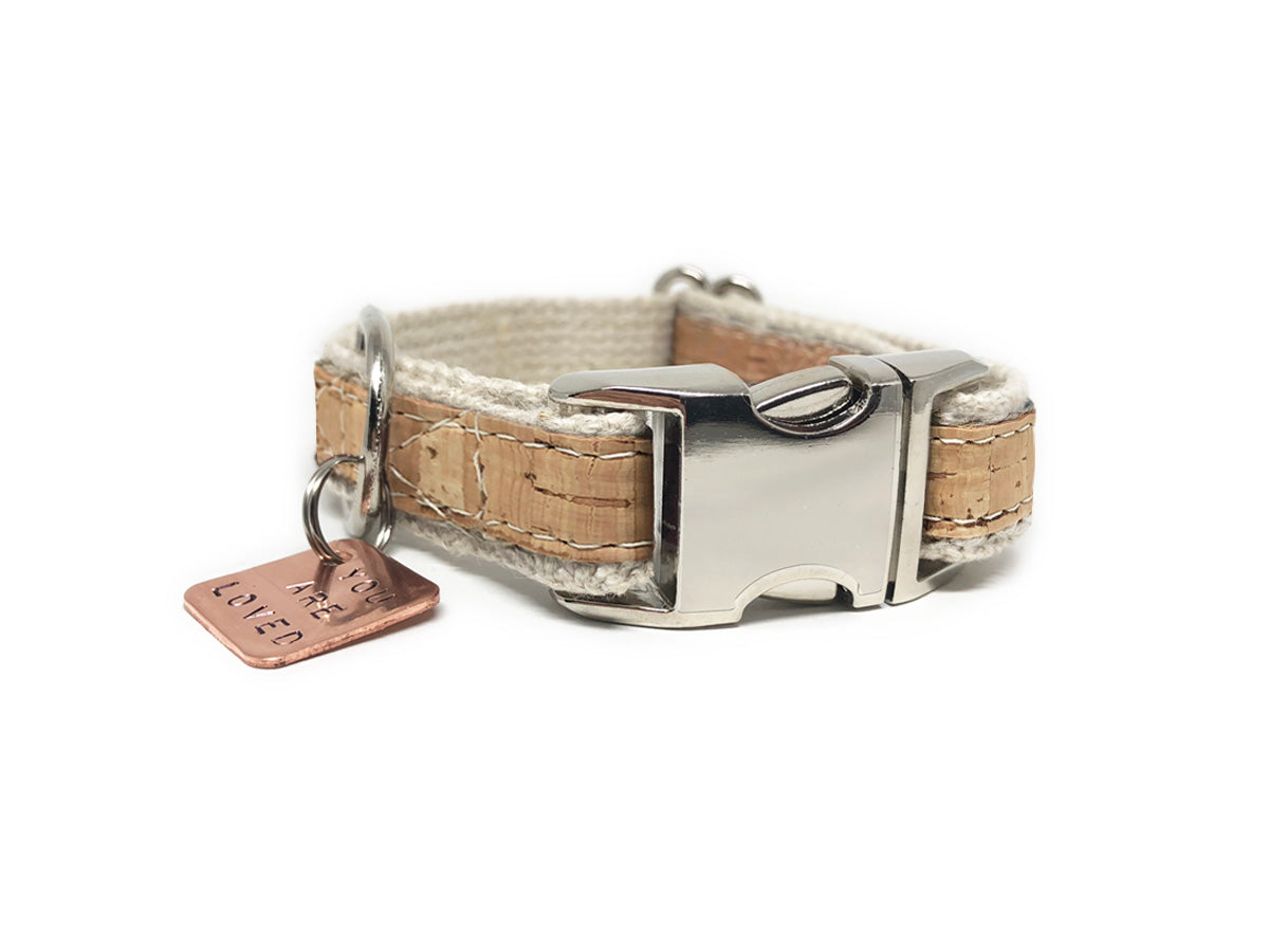 Lil' Adventurer Natural Cork Leather Hemp Small Dog Collar