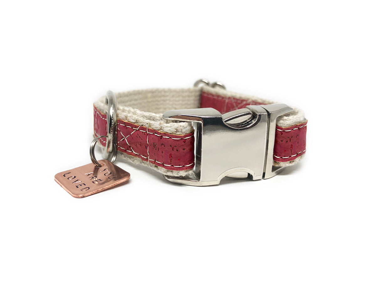 Lil' Adventurer Cork Leather Hemp Small Dog Collar in Pink