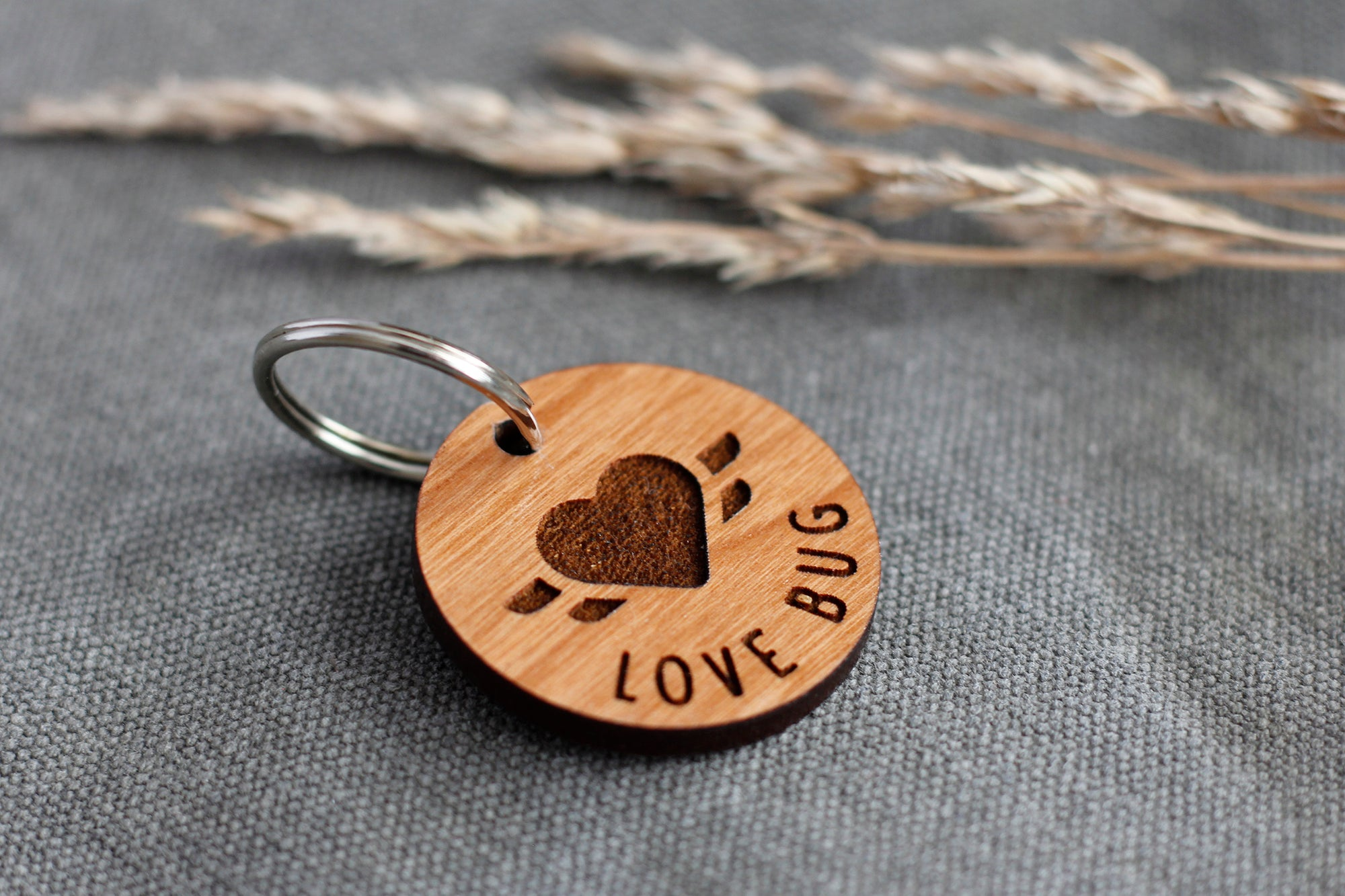 """Love Bug"" Wooden Pet ID Tag"