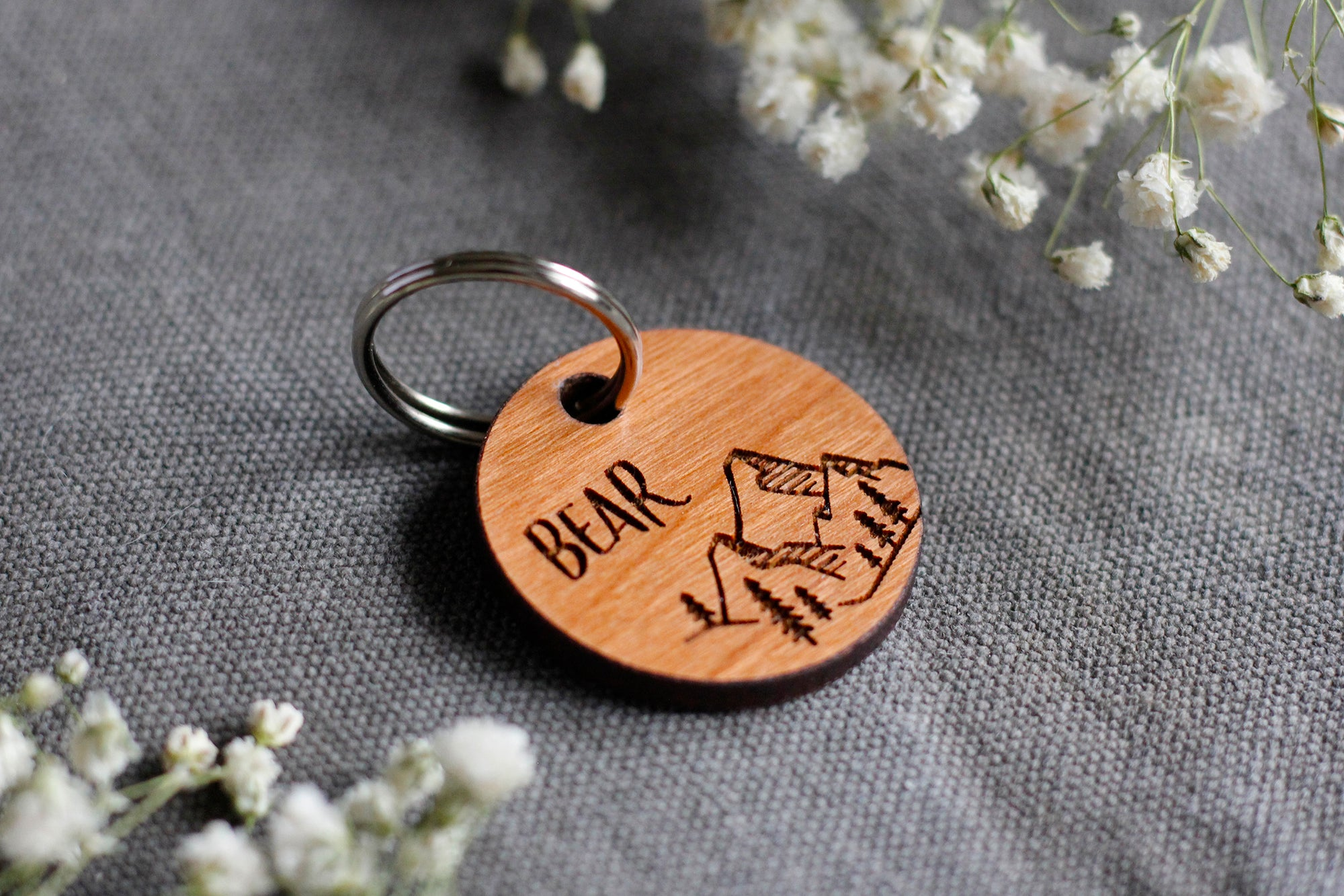 Mountains Wooden Dog ID Tag