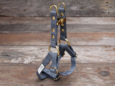 Nantucket Blue Just Hemp Adjustable Step-In Dog Harness Bronze
