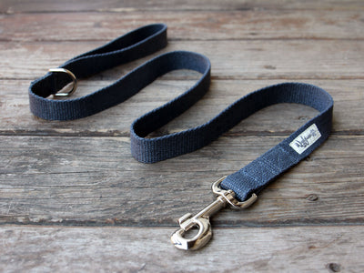 Nantucket Blue Flat Hemp Dog Leash