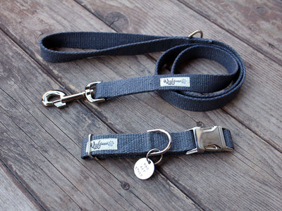 Nantucket Blue Flat Hemp Dog Leash And Collar