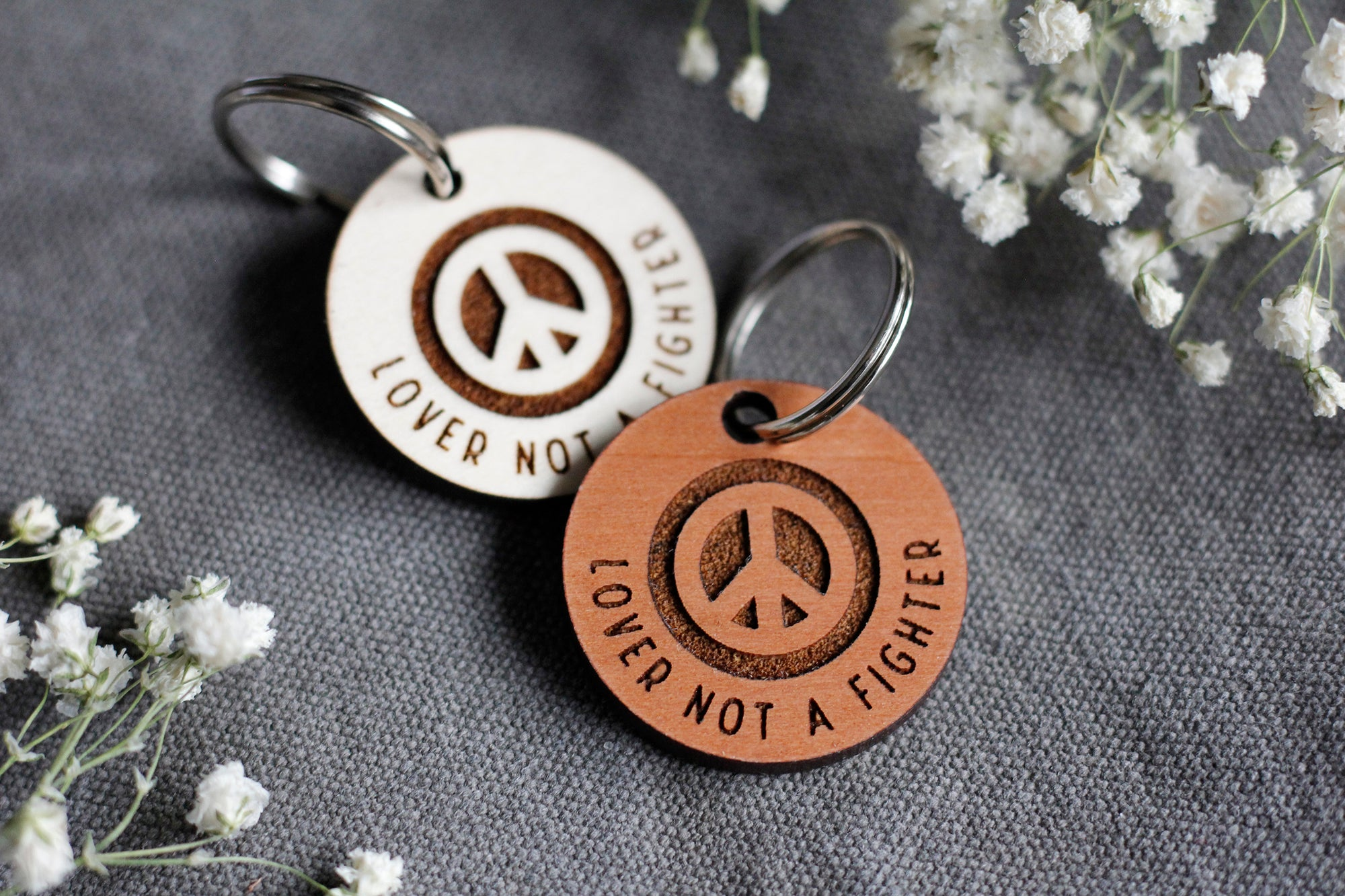 Lover Not a Fighter Round Wooden Dog ID Tag
