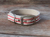 Tongue Buckle Nautical Striped Dog Collar - Red