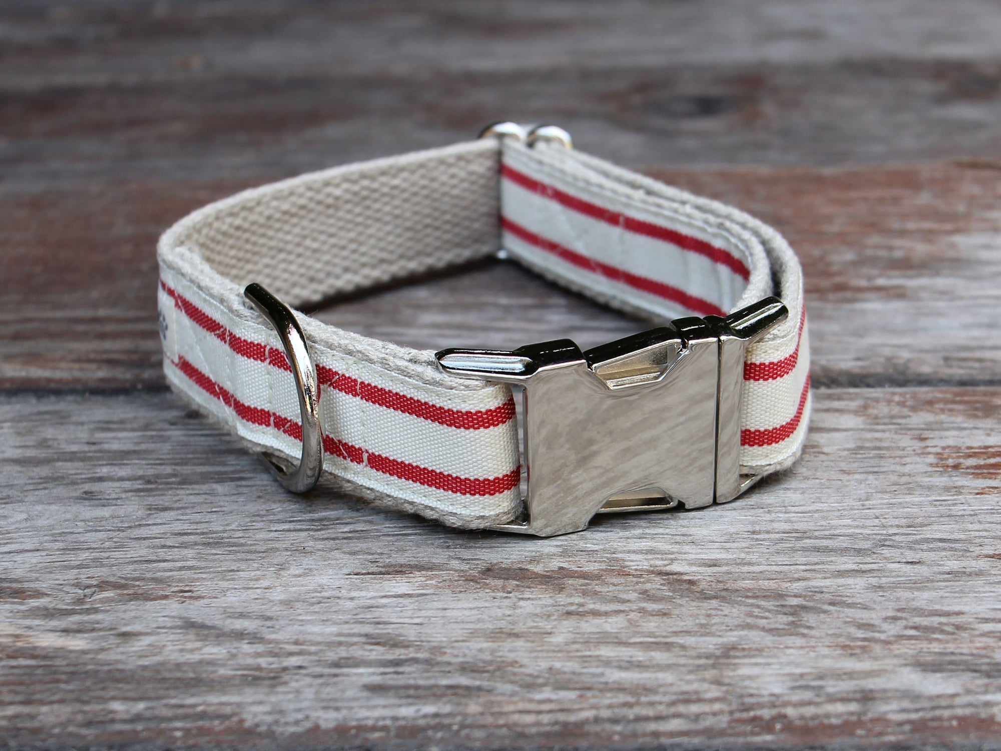 Nautical Striped Dog Collar - Red