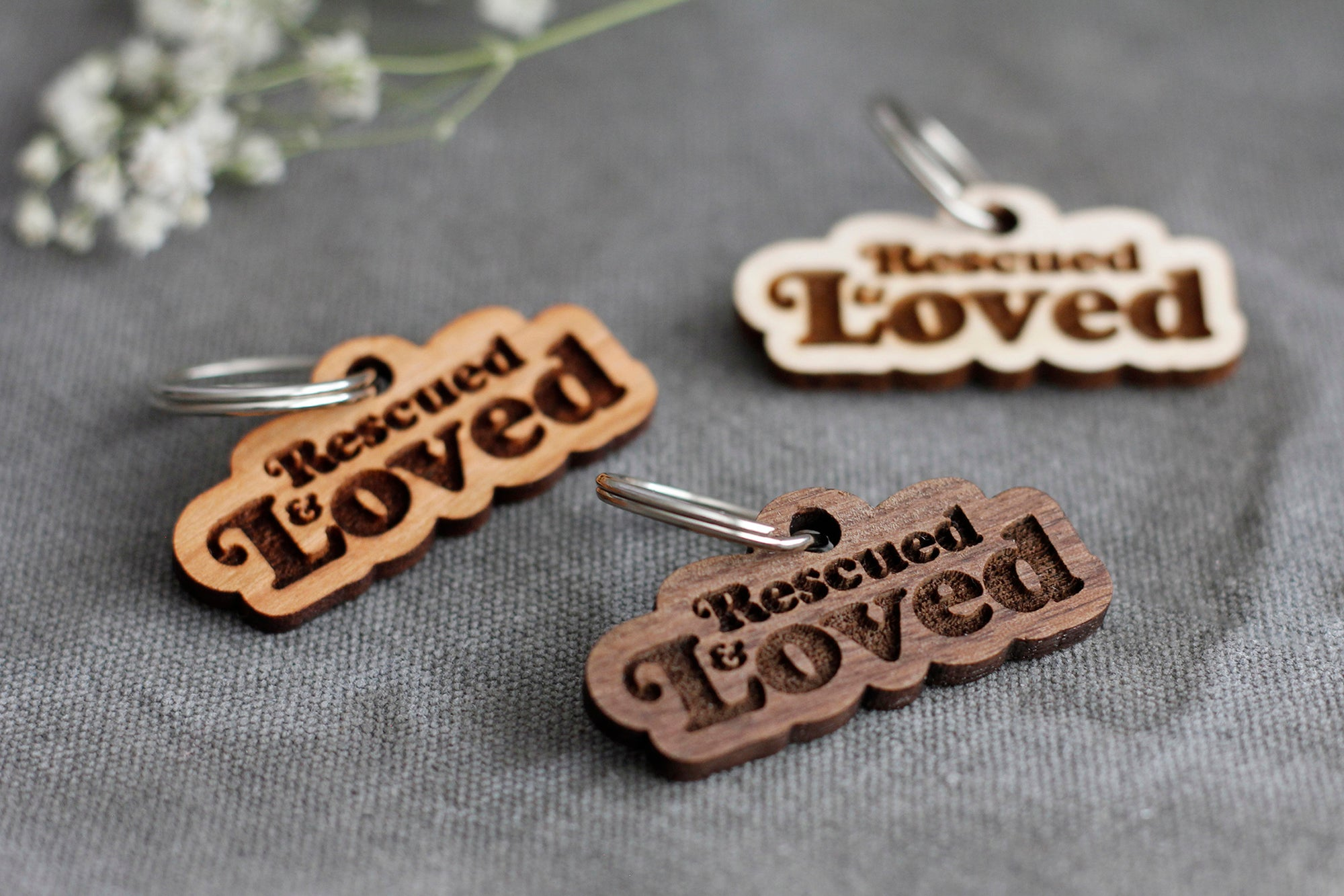 Rescued & Loved Badge Style Wooden Pet Tag