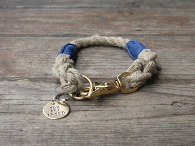 Rope Dog Collar Blue Bronze