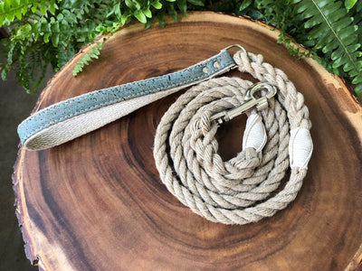 Hemp Rope Dog Leash with Ocean Blue Cork Leather Handle