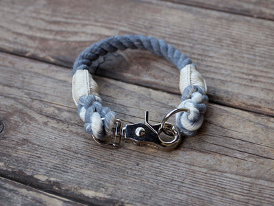 Seaside Blue Organic Cotton Rope Dog Collar Natural Twine