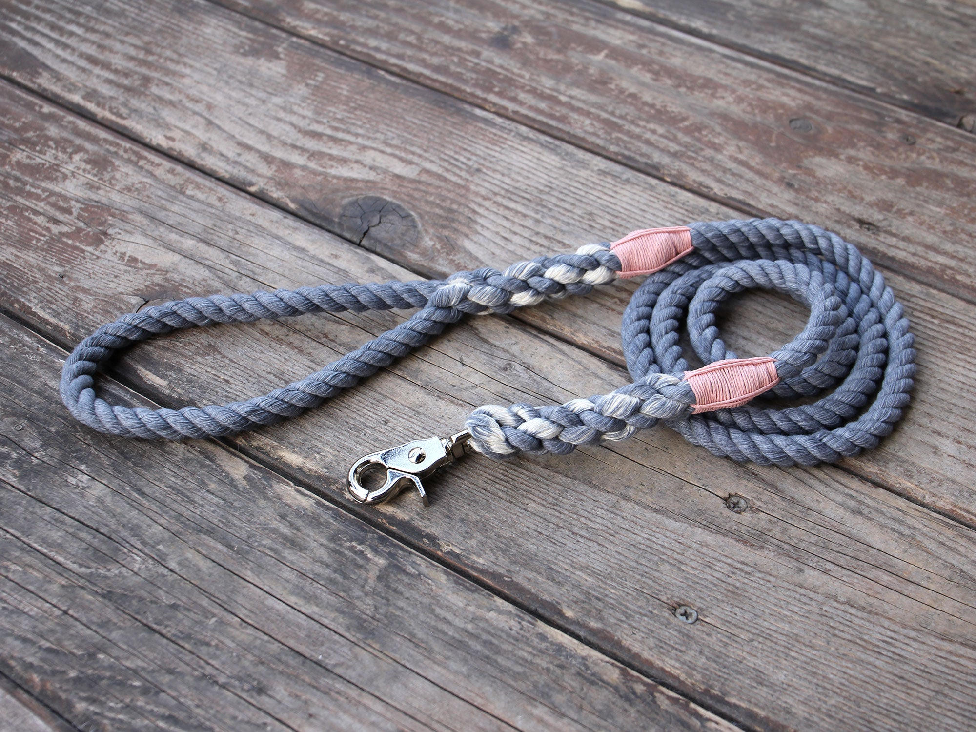 Seaside Blue Nautical Cotton Rope Dog Leash Pink Twine