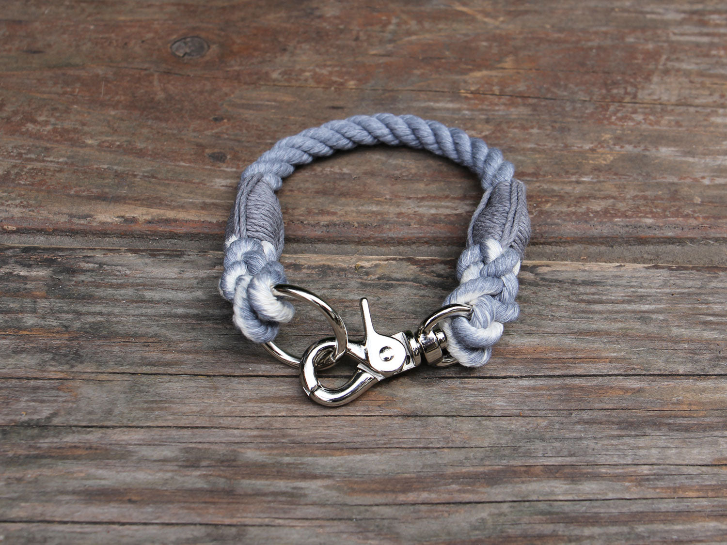 Seaside Blue Natural Cotton Rope Dog ID Collar - Extra Small and Toy Dogs