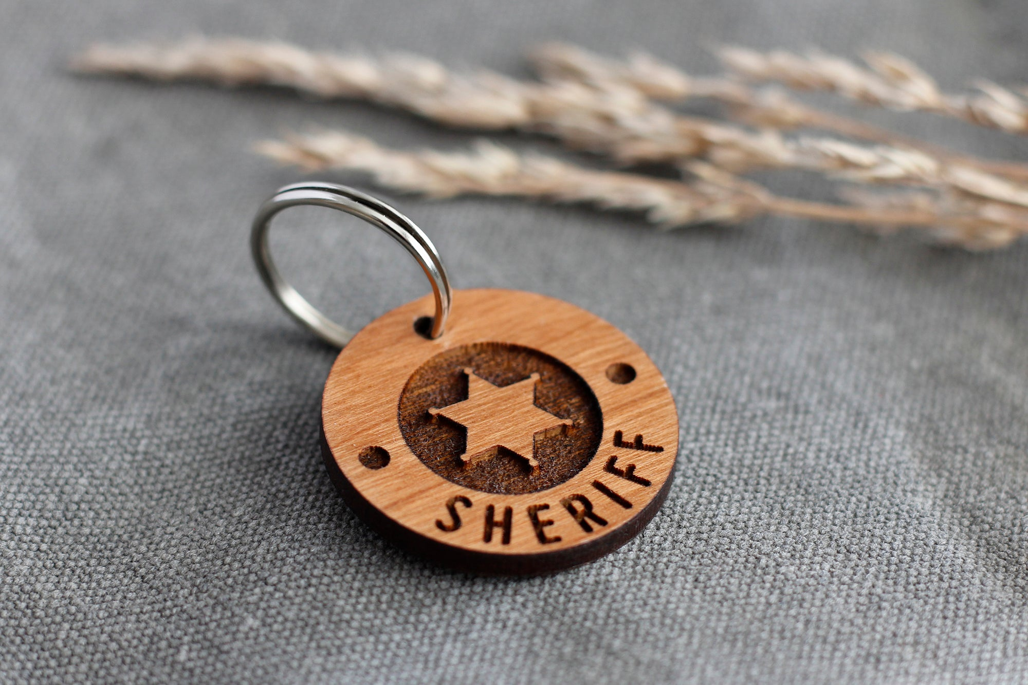 """Sheriff"" Wooden Pet ID Tag"