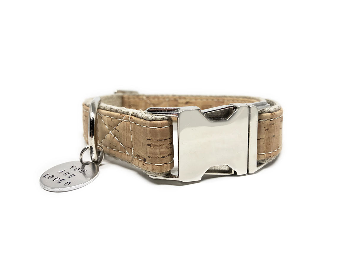 Signature Natural Cork Leather Dog Collar - 1 inch