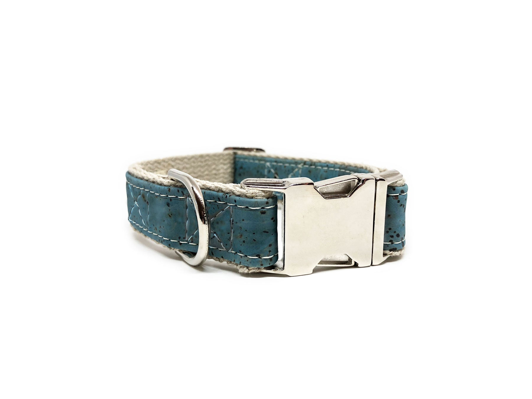 Signature Natural Cork Leather Dog Collar in Ocean Blue