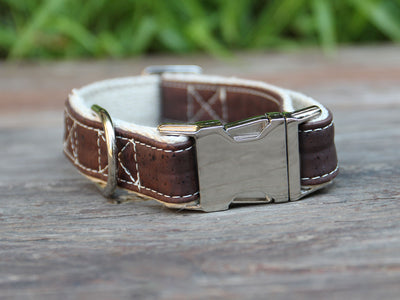 Signature Natural Cork Leather Dog Collar in Saddle Brown