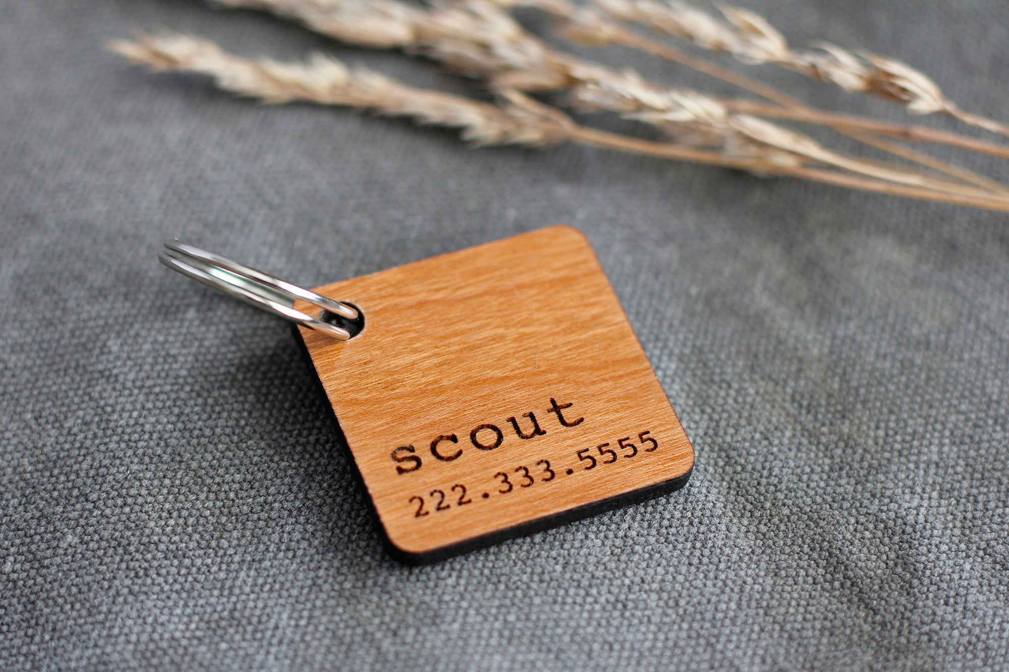 Square Wooden Pet ID Tag