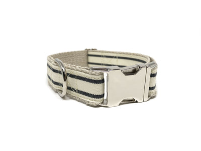 Nautical Striped Dog Collar - Charcoal