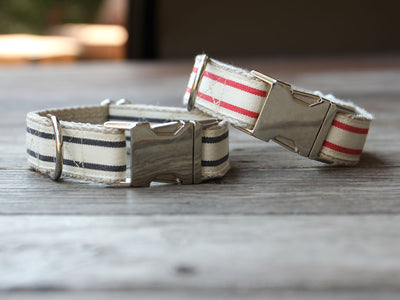 Nautical Striped Dog Collar - Red and Charcoal