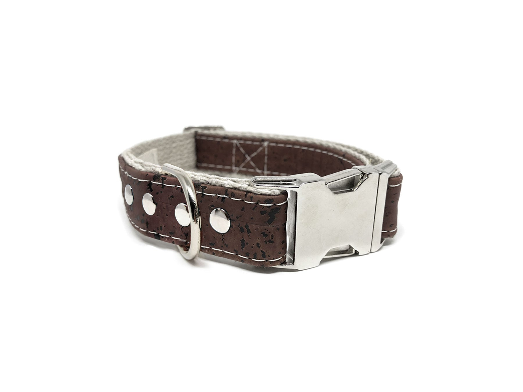 Studded Signature Natural Cork Leather Dog Collar in Brown