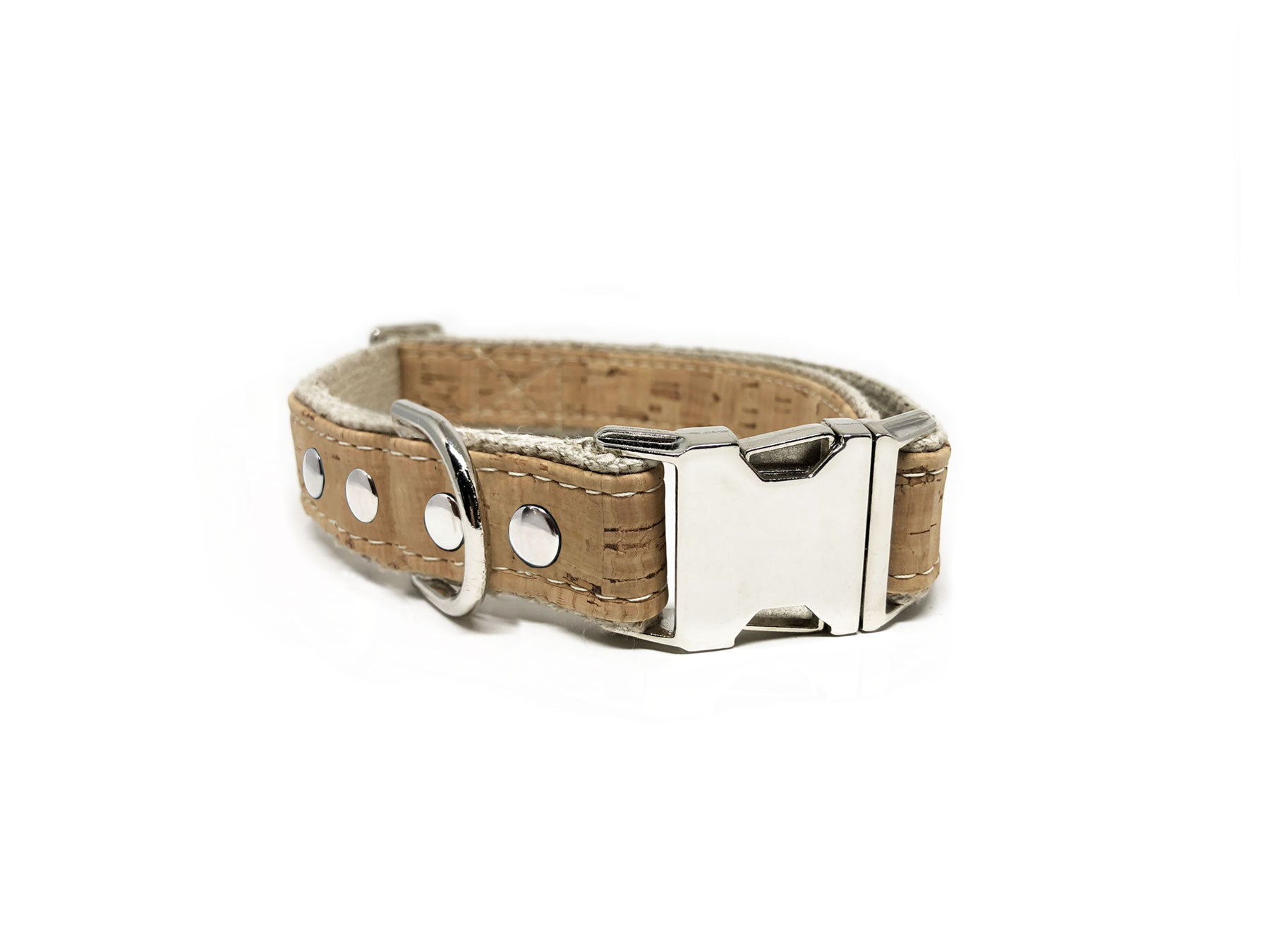 Studded Cork Leather Dog Collar Natural