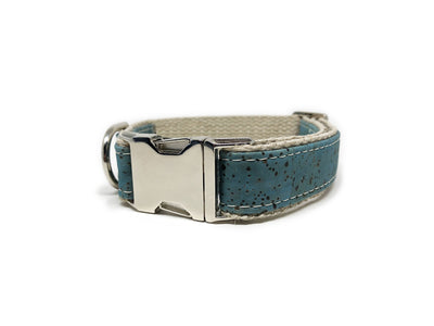 Studded Signature Cork Leather Dog Collar Ocean Blue