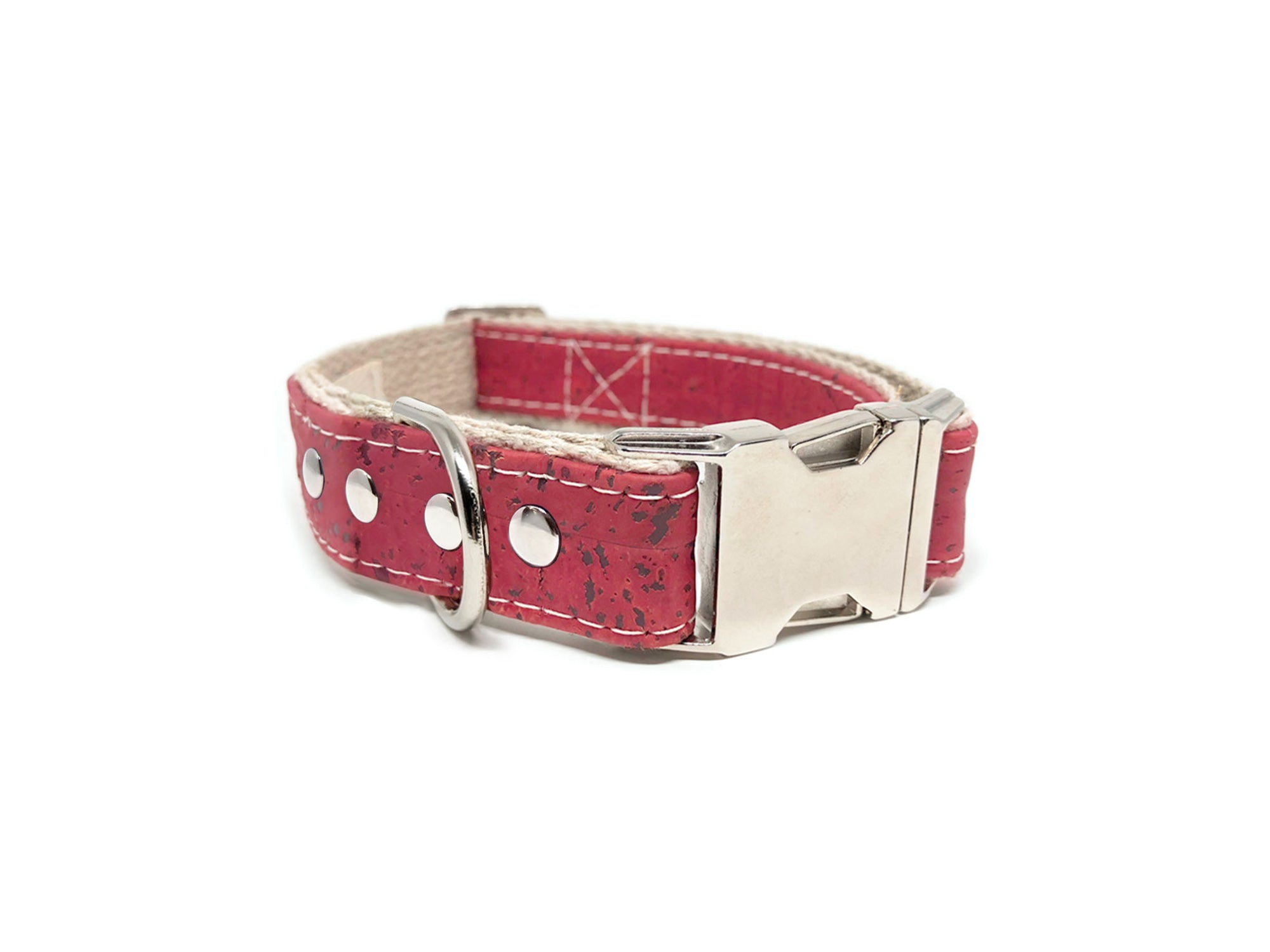Studded Signature Cork Leather Dog Collar Pretty in Pink