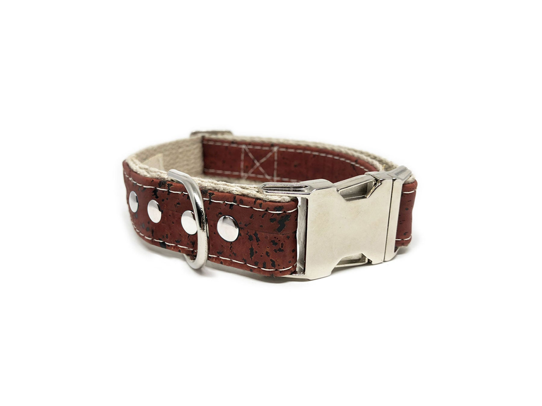 Studded Signature Cork Leather Dog Collar Sangria Red