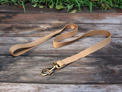 Tea-Stained Flat Hemp Dog Leash