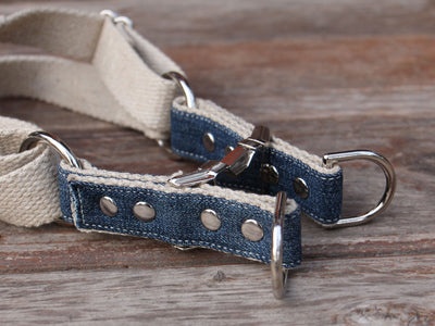 Upcycled Denim Top Adjustable Step-In Dog Harness