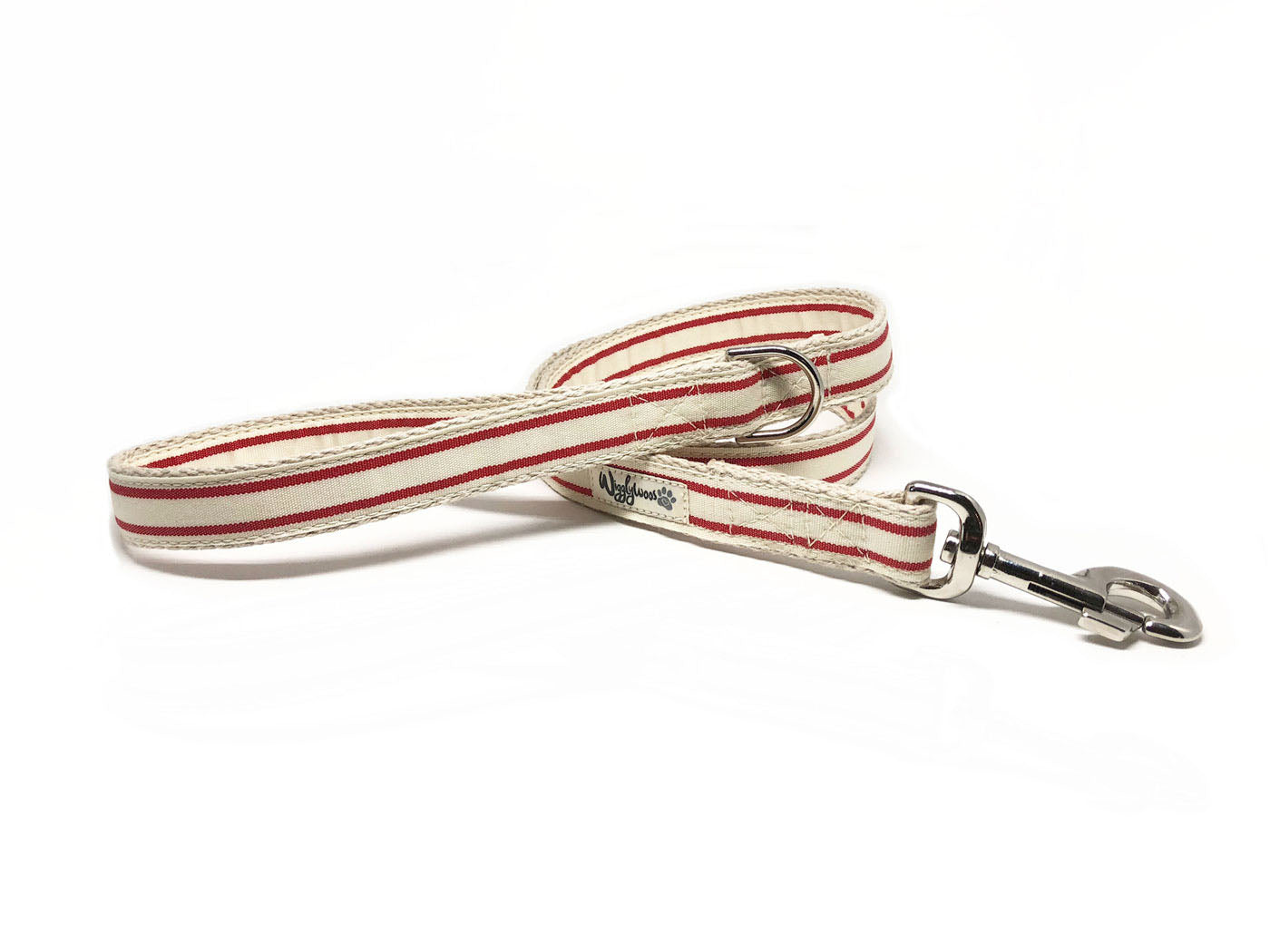 Flat Hemp Dog Leash With Layered Red Striped Ribbon