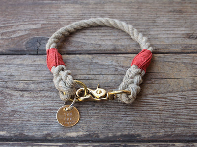 Rope Dog Collar Red Bronze Large Dog