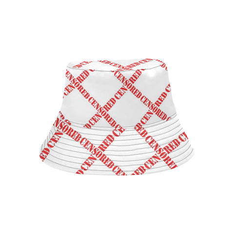 White Censored Bucket Hat