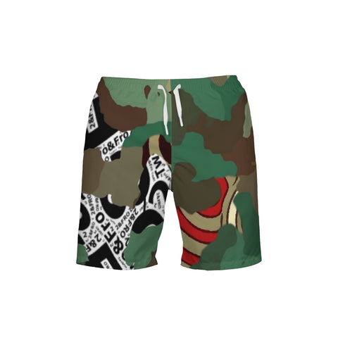 © 2&Fro Green Camo Men's Swim Trunks
