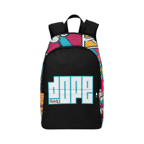 backpack with the word dope on the front, copyright 2&Fro primary color comic book print on the top and sides.